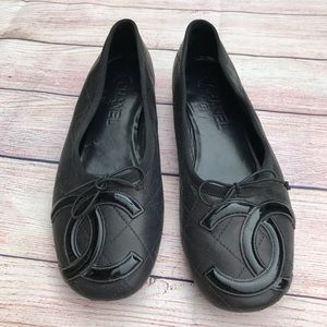Chanel Cambon Leather Quilted Flats
